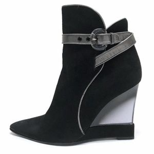 """CASADEI Ankle Boots 4"""" LUCITE Wedge Heels 8 KiLLER"""